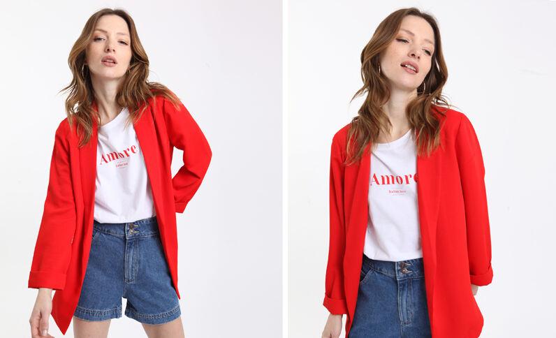 Giacca blazer morbida rosso