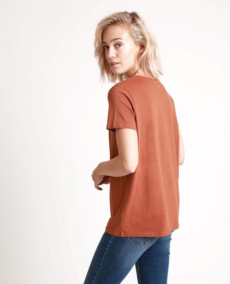 T-shirt ricamata marrone