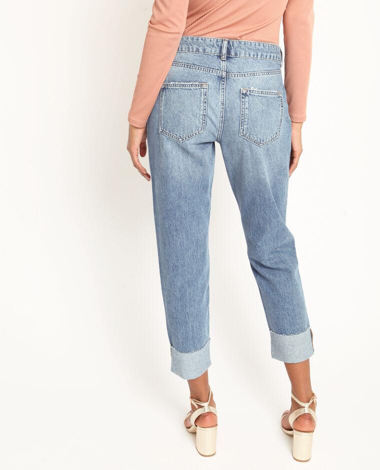 Mom jeans con risvolto blu scuro
