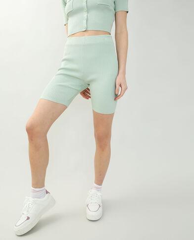 Pantaloncini in stile ciclista a coste verde