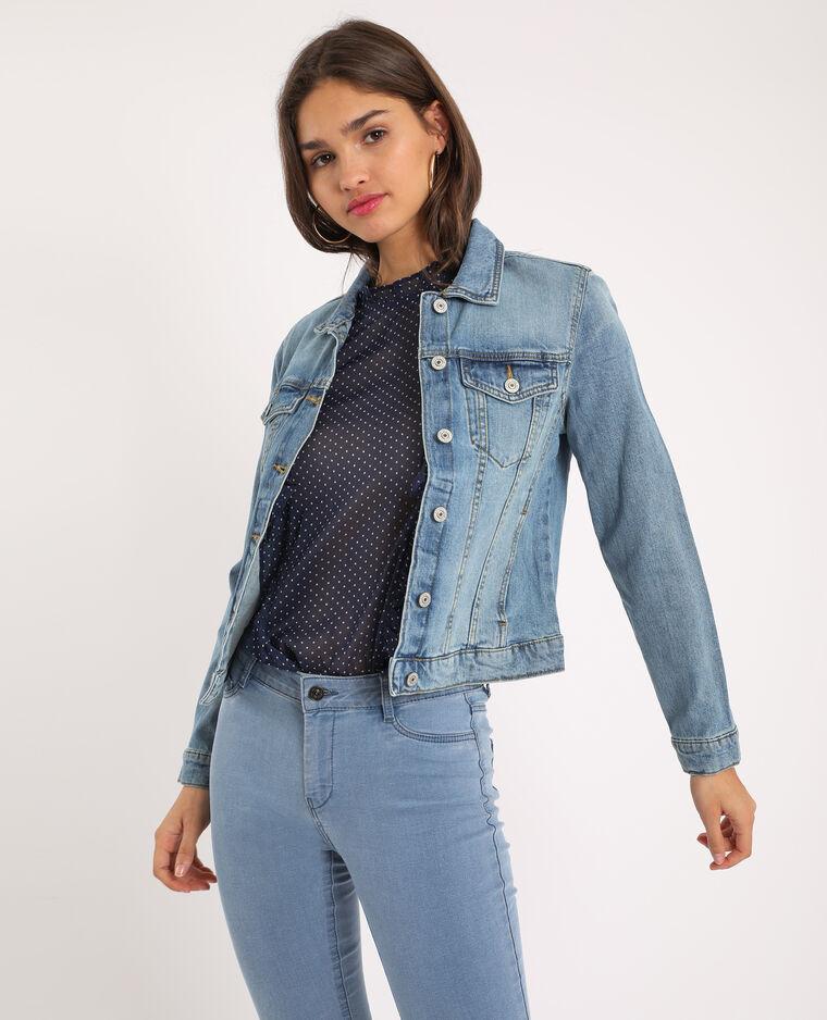 Giacca di jeans blu delavato