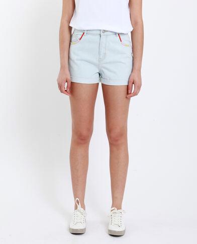 Short in jeans ricamato blu chiaro