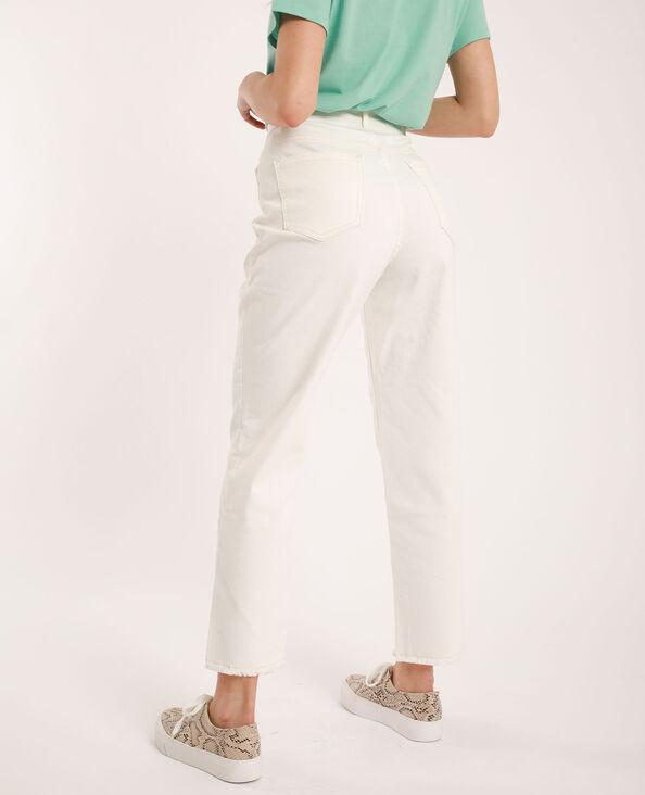 Jeans straight high waist écru