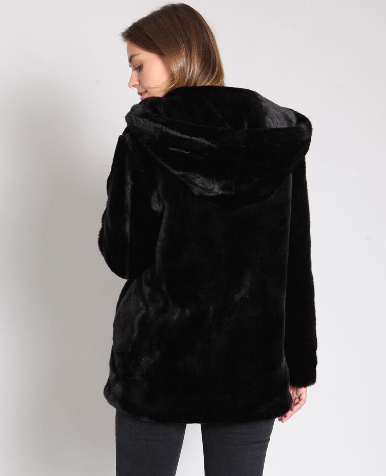 pelliccia nera a cappotto
