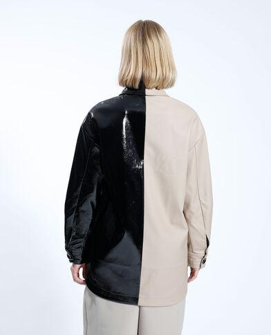 Giacca camicia bimateriale e bicolore beige - Pimkie