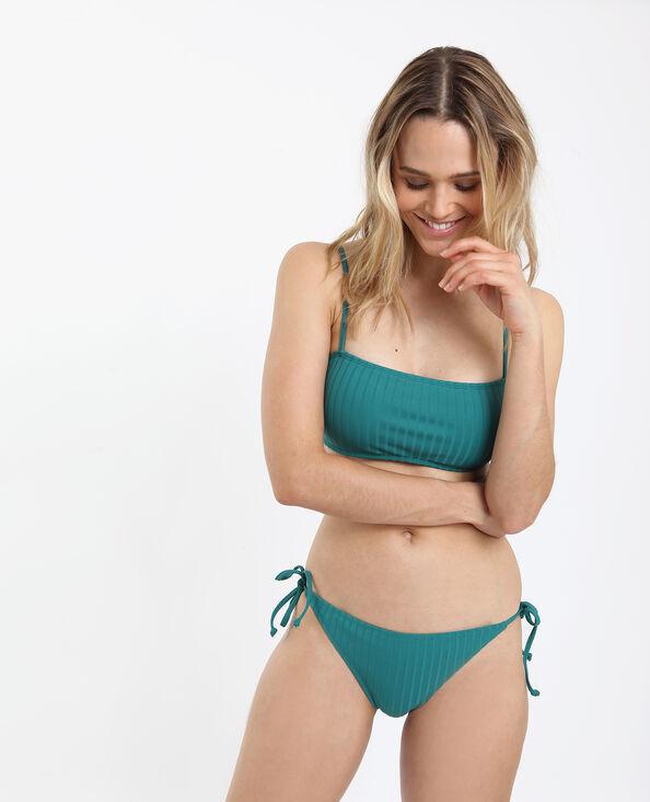 Pezzo sotto di bikini con fiocchi verde