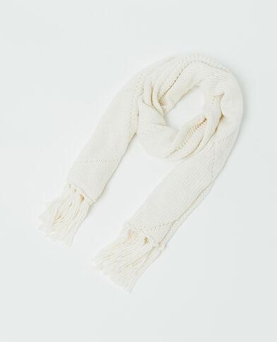 Sciarpa con motivi ritorti bianco sporco