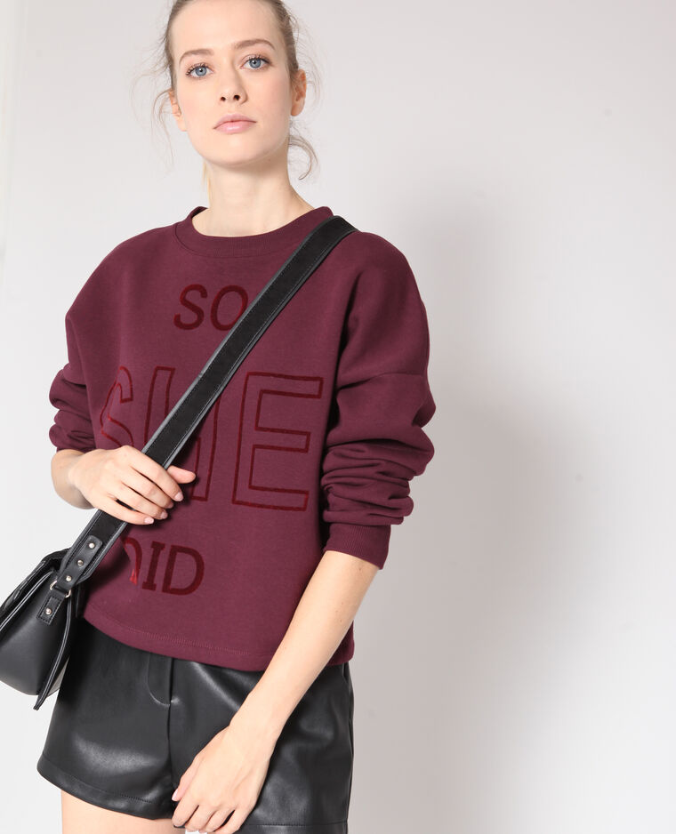 Felpa cropped bordeaux