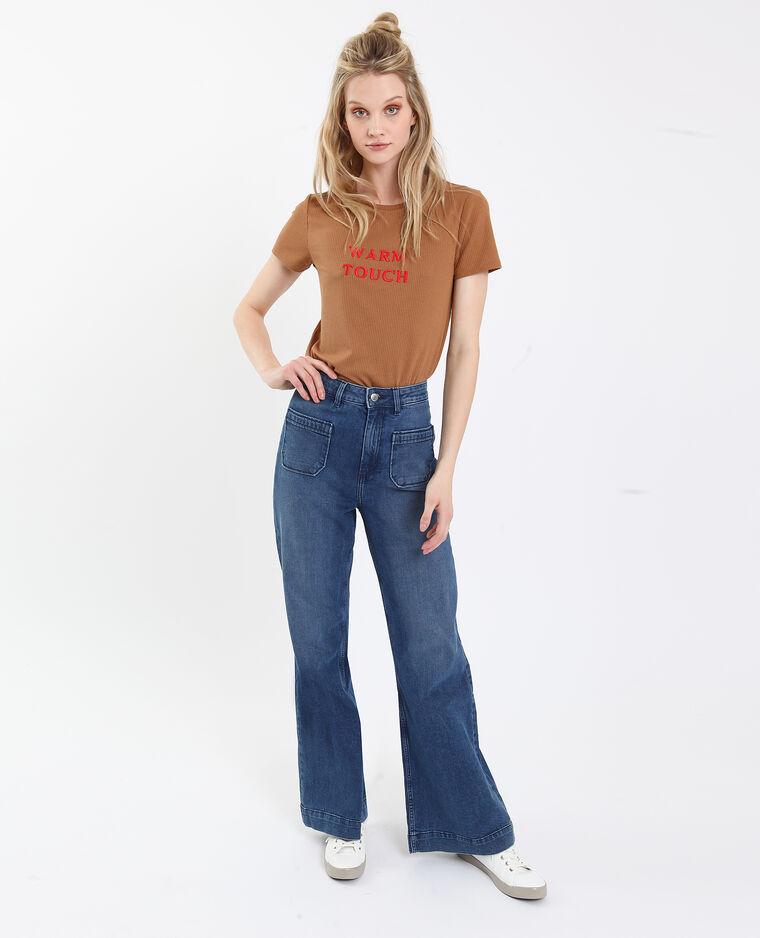 T-shirt a coste marrone