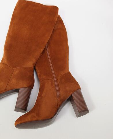 Stivali effetto pelle scamosciata marrone