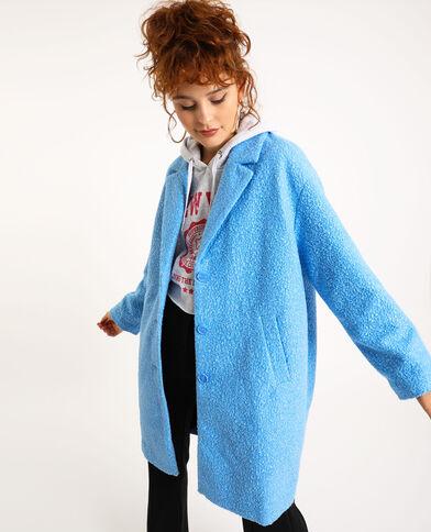 Cappotto in maglia bouclé blu