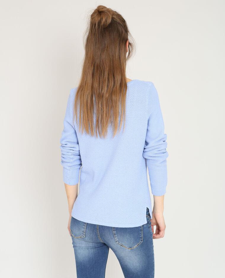 Pull in maglia fantasia blu cielo