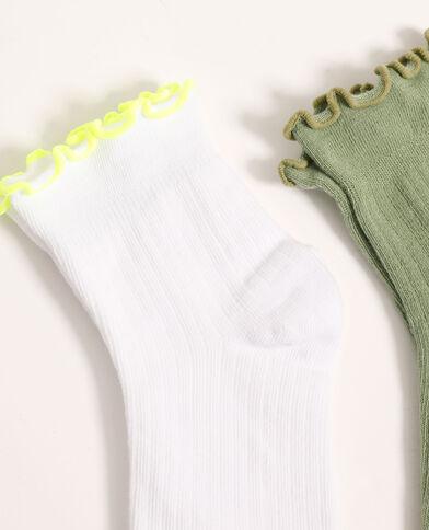 Lotto di 2 paia di calzini arrotolati verde - Pimkie