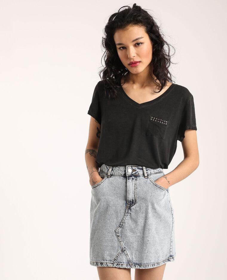 T-shirt con collo a V nero