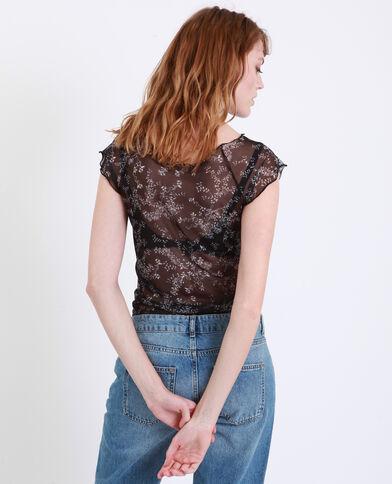 T-shirt a fiori trasparente nero