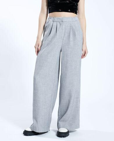 Pantalone wide leg grigio chiné - Pimkie