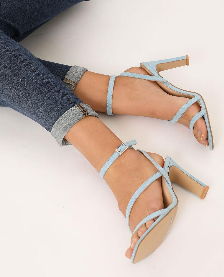 Sandali con tacco blu cielo