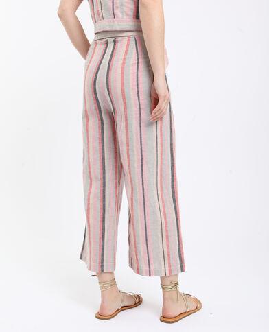 Pantalone a righe in lino beige