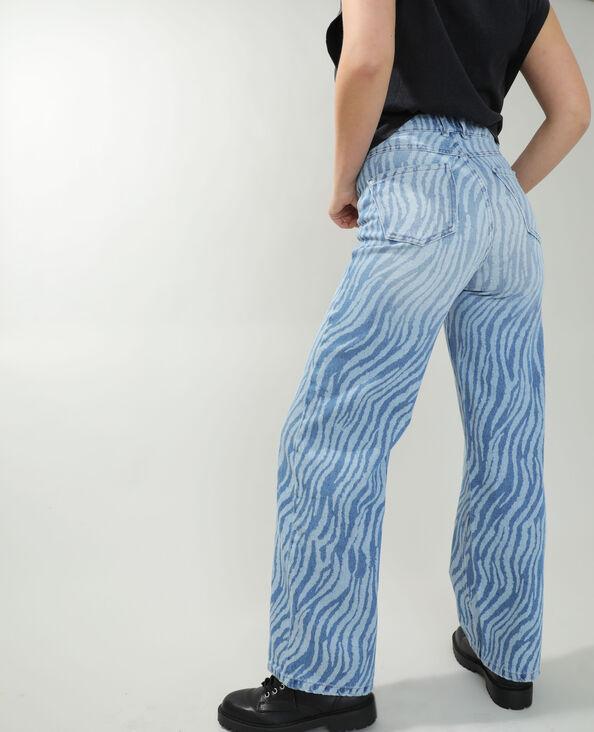 Jeans straight high waist zebrato blu denim