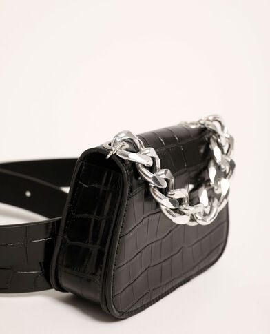 Cintura pochette effetto coccodrillo in similpelle nero - Pimkie