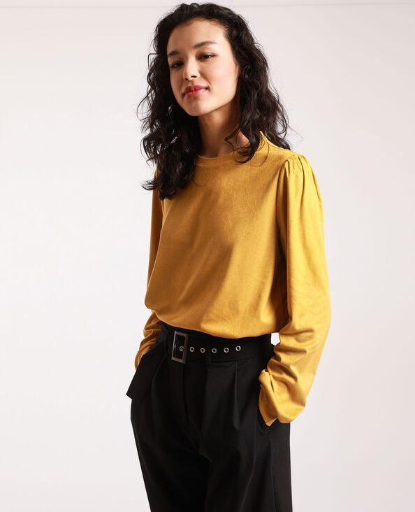 T-shirt effetto pelle scamosciata giallo mostarda