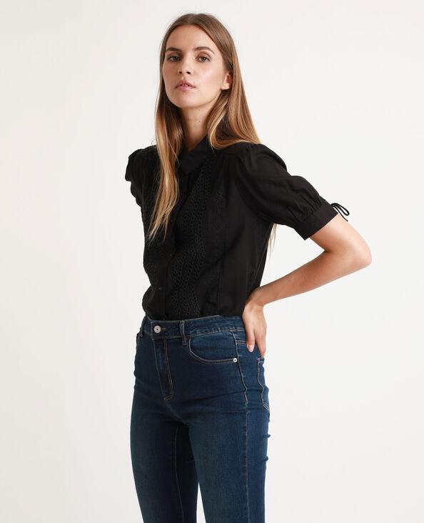 Camicia con ricamo inglese nero
