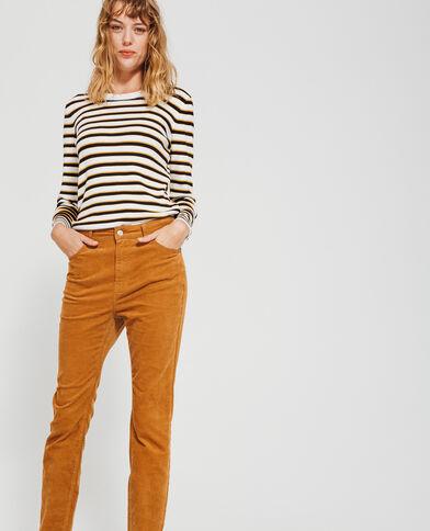 Pantalone skinny velluto cammello
