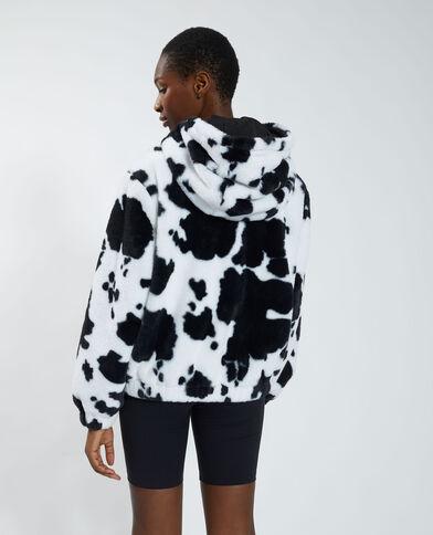 Cappotto corto fluffy con motivo maculato nero - Pimkie