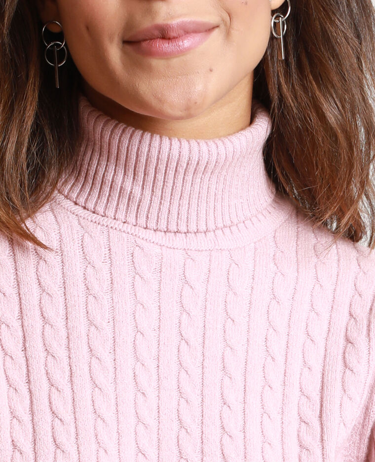 Pull dolcevita ritorto rosa cipria