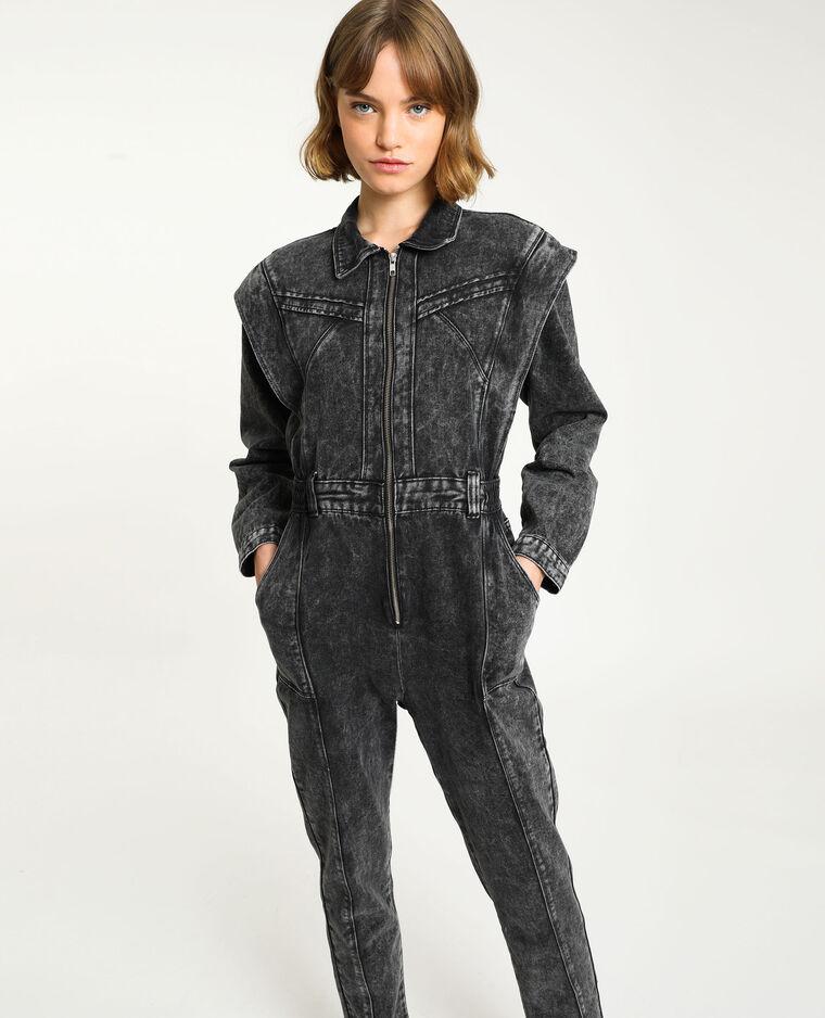 Tutina pantalone di jeans grigio delavato