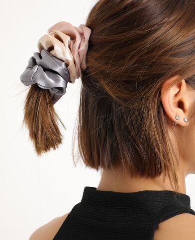 Lotto da 3 elastici per capelli satinati rosa
