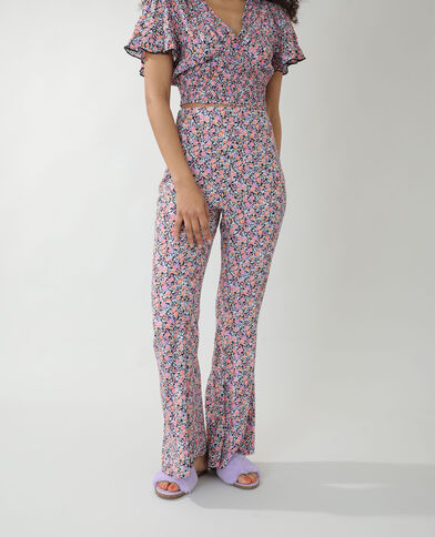 Pantalone flare a fiori nero - Pimkie