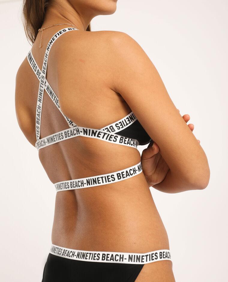 Pezzo sopra di bikini stile sportivo nero