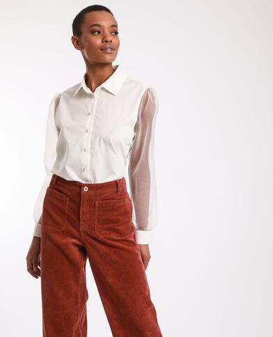 Camicia bimateriale bianco sporco