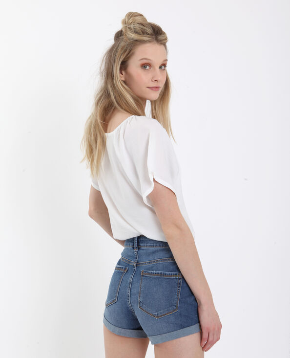 Camicia morbida con bottoni bianco sporco