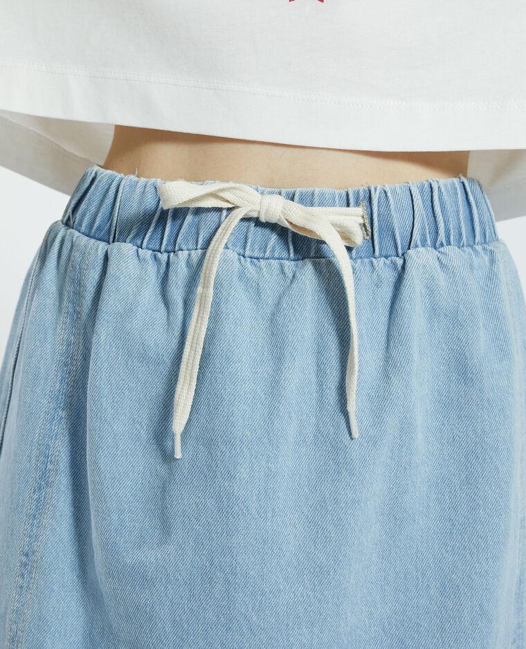 Gonna di jeans da annodare blu delavato - Pimkie