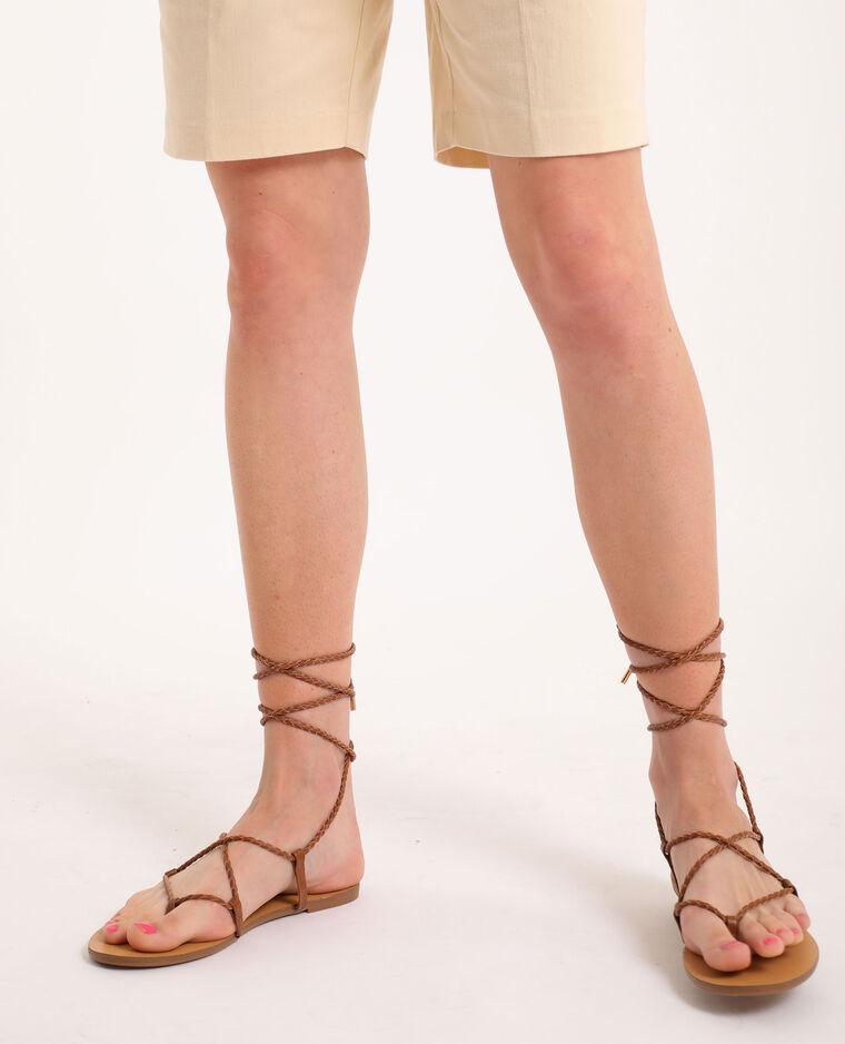 Sandali bassi intrecciati marrone
