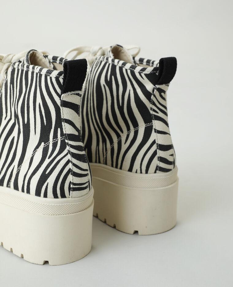 Scarpe da tennis alte zebrate beige - Pimkie