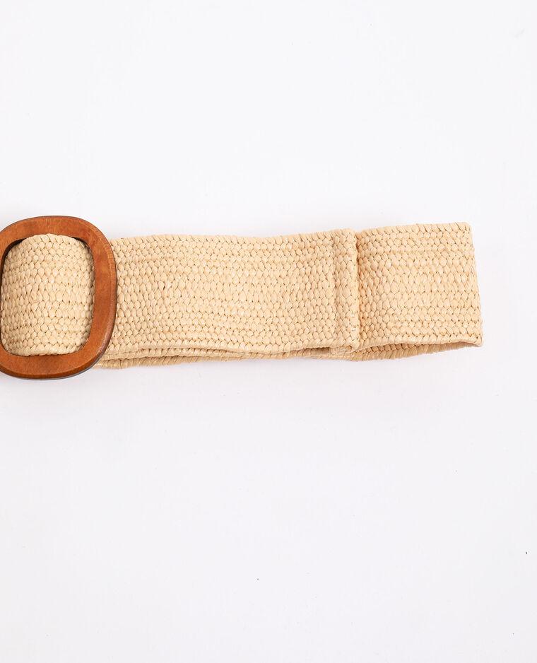 Cintura con fibbia in legno beige
