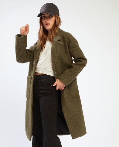 Cappotto lungo in maglia bouclé kaki - Pimkie