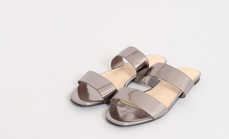 Sandali bassi grigio paillettato