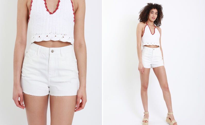Short in jeans high waist bianco