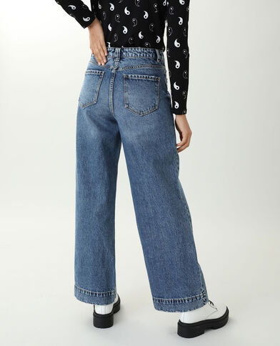 Jeans wide leg high waist blu denim