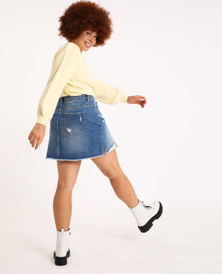 Gonna in jeans destroy blu denim