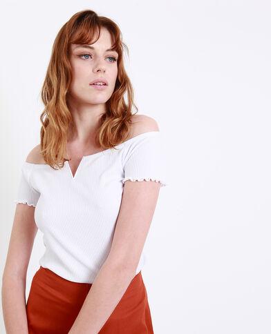T-shirt con piccolo collo a V bianco