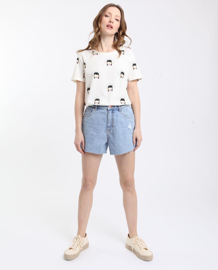 T-shirt stampata ecru
