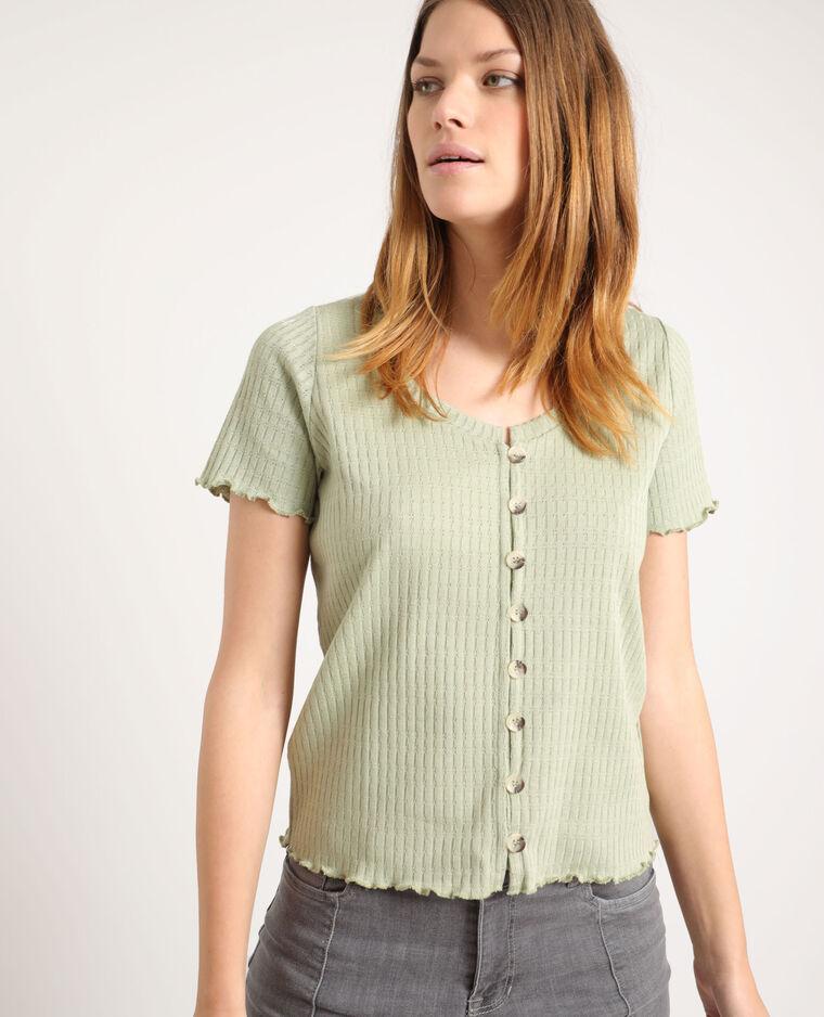 T-shirt con bottoni verde acqua