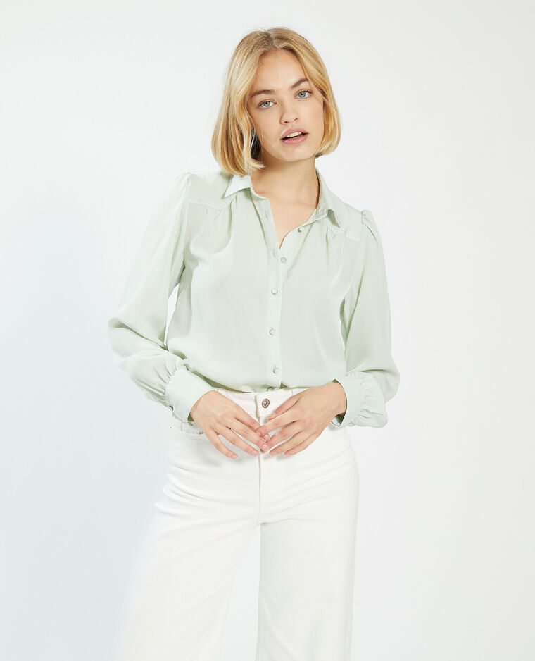 Camicia setosa con bottoni fantasia verde - Pimkie