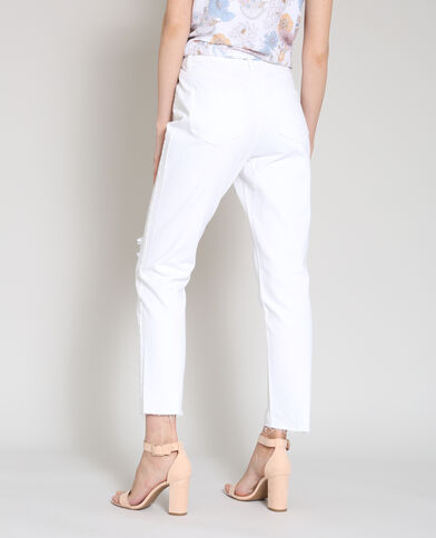 Jeans dritto destroy bianco