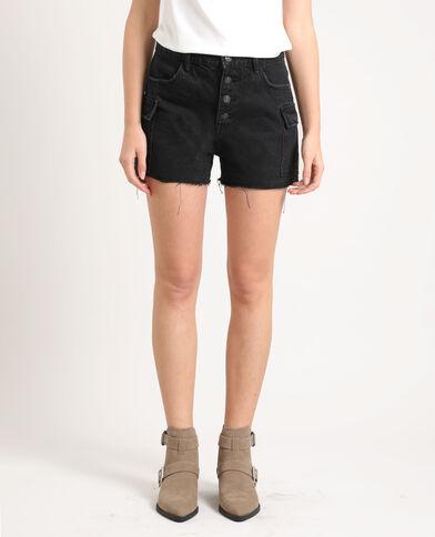 Short in jeans a vita alta nero